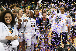 March 26, 2018 - Spokane, WA, U.S. - SPOKANE, WA - MARCH 26: the Notre Dame coaches and players celebrate after the game between the Oregon Ducks and the Notre Dame Fighting Irish played on March 26, 2018 at the Veterans Memorial Arena in Spokane, WA.. (Photo by Robert Johnson/Icon Sportswire) (Credit Image: © Robert Johnson/Icon SMI via ZUMA Press)