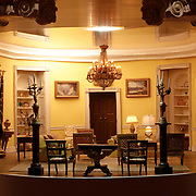 A scale model of the real White House is on display at the Reagan Library in Simi Valley, California. This is the Yellow Oval Room.