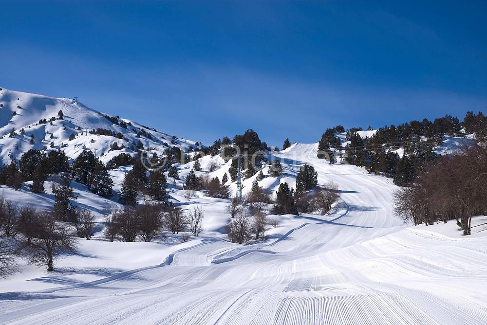 Open pistes at Beldersay ski resort on 26th February 2014 in Uzbekistan.
