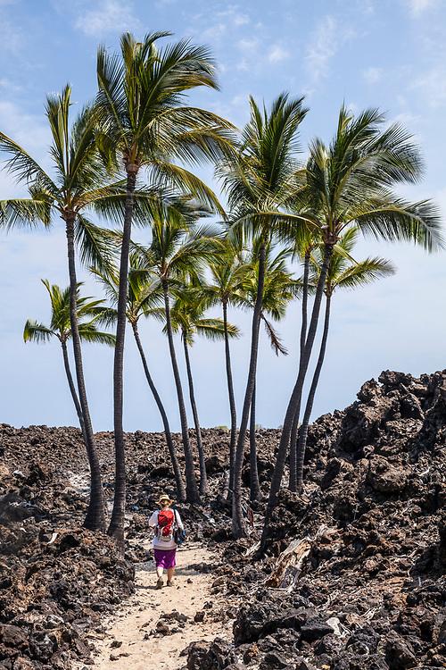 Walking between Mahai'ula beach out to Makalawena Beach, Hawaii, USA.