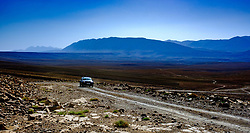 A car nakes it's way along the piste from Tamtetoucht to Msemrir, Morocco<br /> <br /> (c) Andrew Wilson | Edinburgh Elite media