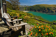 View of the Albion River from wooden deck chairs at the Albion River Inn, Albion, Mendocino County, California