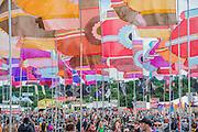 Flags in West Holts - The 2016 Glastonbury Festival, Worthy Farm, Glastonbury.