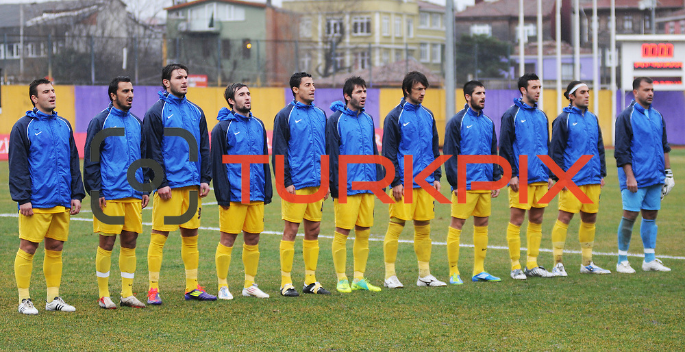 Eyupspor's players during their Turkey Cup matchday 3 soccer match Eyupspor between Eskisehirspor at Eyup Stadium in Istanbul Turkey on Wednesday, 11 January 2012. Photo by TURKPIX