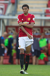 © Licensed to London News Pictures . 15/08/2016 . Leigh , UK . DEVONTE REDMOND on the ball . Manchester United vs Leicester City reserves at Leigh Sports Village Stadium . Photo credit : Joel Goodman/LNP