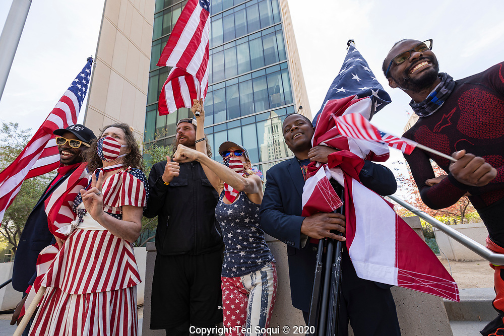 A small group of pro-Trump protesters call on Los Angeles City officials to re-open Los Angeles. <br /> 4/22/2020 Downtown Los Angeles, CA USA