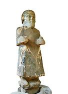 Pictures & images of the South Gate Hittite sculpture statue of Hittite Storm God Tarhunzas ( Tarḫunz Tarḫunna or in Hurrian Teshub or in Phoenician Baal Krntrys ). 8th century BC. Karatepe Aslantas Open-Air Museum (Karatepe-Aslantaş Açık Hava Müzesi), Osmaniye Province, Turkey. Against white background