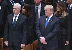 United States President Donald J. Trump, second right, first lady Melania Trump, right, US Vice President Mike Pence, left, and Karen Pence, second left, at the conclusion of the National funeral service in honor of the late former US President George H.W. Bush at the Washington National Cathedral in Washington, DC on Wednesday, December 5, 2018.<br /> Photo by Ron Sachs / CNP/ABACAPRESS.COM