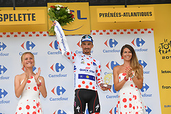 July 28, 2018 - Espelette, FRANCE - French Julian Alaphilippe of Quick-Step Floors celebrates on the podium in the red polka-dot jersey for best climber after the 20th stage of the 105th edition of the Tour de France cycling race, a 31km individual time trial from Saint-Pee-sur-Nivelle to Espelette, France, Saturday 28 July 2018. This year's Tour de France takes place from July 7th to July 29th...BELGA PHOTO DAVID STOCKMAN (Credit Image: © David Stockman/Belga via ZUMA Press)