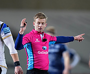 Referee Christophe Ridley signals for a mark during a Gallagher Premiership Round 9 Rugby Union match, Friday, Feb 12, 2021, in Leicester, United Kingdom. (Steve Flynn/Image of Sport)