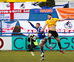 Bristol Rovers' Tom Parkes wins a header - Photo mandatory by-line: Neil Brookman/JMP - Mobile: 07966 386802 - 28/03/2015 - SPORT - Football - Macclesfield - Moss Rose - Macclesfield Town v Bristol Rovers - Vanarama Football Conference