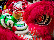16 FEBRUARY 2018 - BANGKOK, THAILAND:  Lion dancer head at the Canton Shrine during Chinese New Year celebrations in the Chinatown neighborhood of Bangkok. Thailand has a large Chinese community and Lunar New Year is widely celebrated, especially in larger cities. This will be the Year of the Dog.      PHOTO BY JACK KURTZ