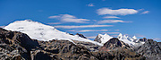 Cordillera Raura (18,757 ft / 5717 m) panorama seen from Portachuelo de Huayhuash pass. Day 4 of 9 days trekking around the Cordillera Huayhuash in the Andes Mountains, Peru, South America. This panorama was stitched from 3 overlapping photos.