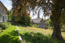 The terrace, meadow and church