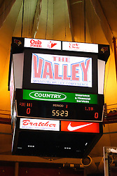 03 February 2007: A new video screen scoreboard made a debut tonight at Redbird Arena. In what is locally referred to as the War on Seventy Four, the Bradley Braves defeated the Illinois State University Redbirds 70-62 on Doug Collins Court inside Redbird Arena in Normal Illinois.