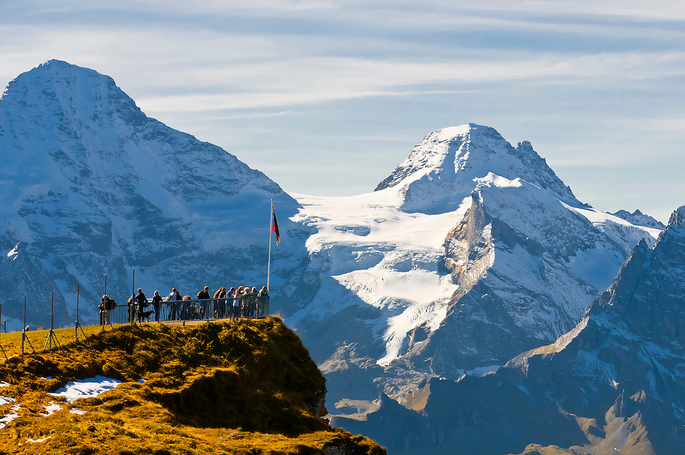 View from Mannlichen, a 2,343 metre mountain in the Swiss Alps, between Wengen and Grindelwald, Canton Bern, Switzerland
