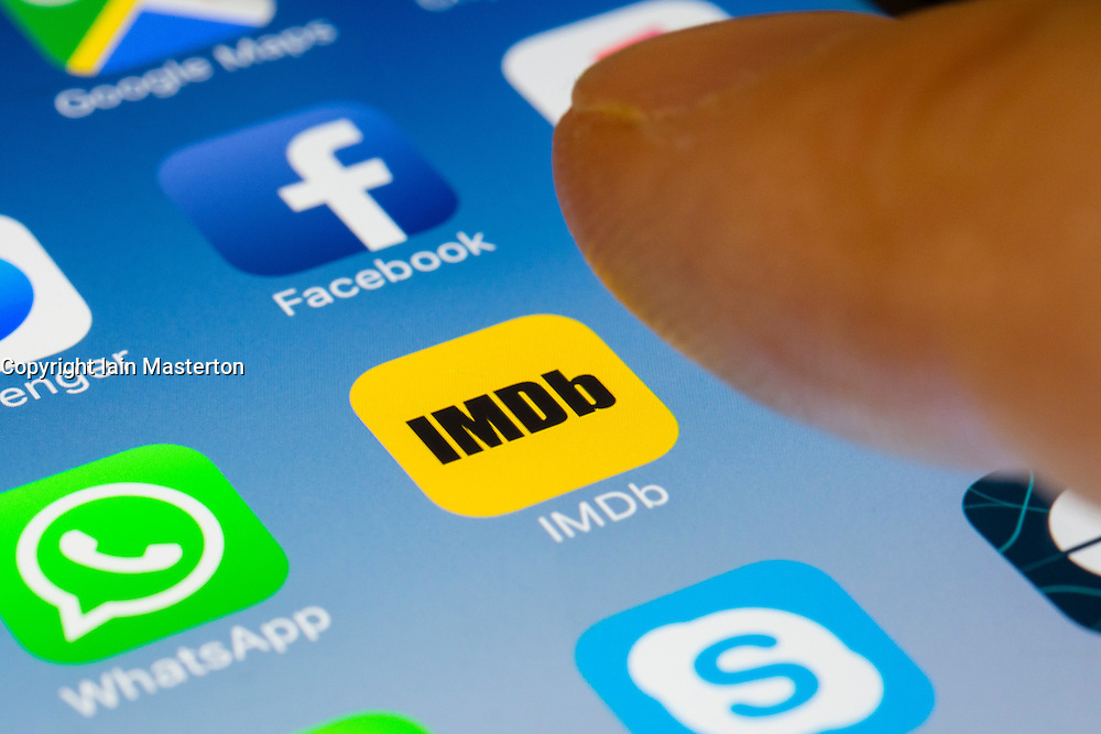 IMDB movie database app close up on iPhone smart phone screen
