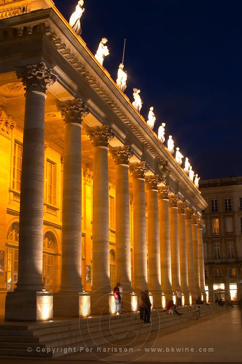 Le Grand Theatre theatre and opera house on Place De La Comedie. Bordeaux city, Aquitaine, Gironde, France