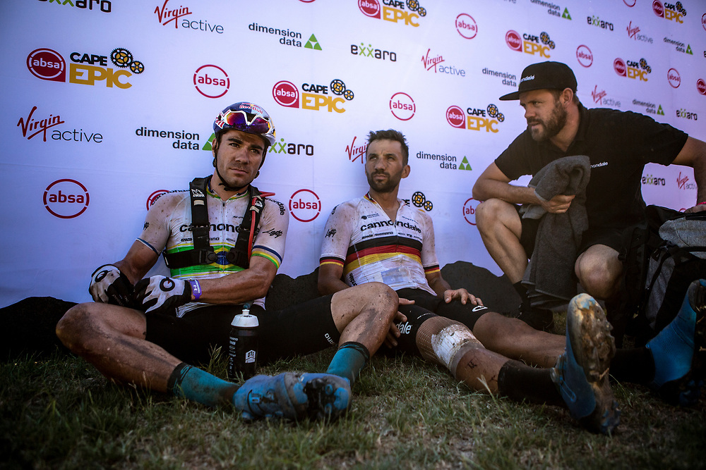 Henirique Avancini and Manuel Fumic of Cannondale Factory Racing after stage 6 of the 2019 Absa Cape Epic Mountain Bike stage race from the University of Stellenbosch Sports Fields in Stellenbosch, South Africa on the 23rd March 2019<br /> <br /> Photo by Nick Muzik/Cape Epic<br /> <br /> PLEASE ENSURE THE APPROPRIATE CREDIT IS GIVEN TO THE PHOTOGRAPHER AND ABSA CAPE EPIC