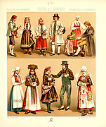 Ancient Swedish fashion and lifestyle, 18th century from Geschichte des kostums in chronologischer entwicklung (History of the costume in chronological development) by Racinet, A. (Auguste), 1825-1893. and Rosenberg, Adolf, 1850-1906, Volume 5 printed in Berlin in 1888