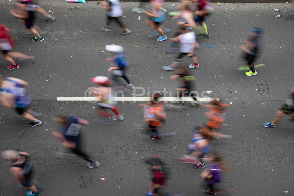 Participants taking part in the London Marathon on 28th April 2019 in London, England, United Kingdom. The London Marathon, presently known through sponsorship as the Virgin Money London Marathon, is a long-distance running event. The event was first run in 1981 and has been held in the spring of every year since. The race is mainly known for ebing a public race where ordinary people can challenge themsleves while raising great amounts of money for various charities.