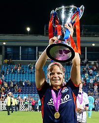 May 24, 2018 - Kiev, Ukraine - Eugnie Le Sommer of Lyon with Trophy.Afte the UEFA Women's Champions League Final match between VFL Wolfsburg and Olympique Lyonnais  at Kyiv, Ukraine on 24 May 2018. (Credit Image: © Kieran Galvin/NurPhoto via ZUMA Press)
