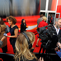 Stars turned out for the premier of Director Sam Mendes new film Away We Go which opened the 2009 Edinburgh Film Festival.  Pictured Director Sam Mendes and actors Carmen Ejogo are interviewed on the red carpet.