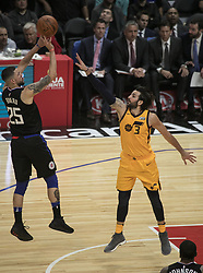 November 30, 2017 - Los Angeles, California, United States of America - Austin Rivers #25 of the Los Angeles Clippers takes a shot over Ricky Rubio #3 the Utah Jazz on Thursday November 30, 2017 at the Staples Center in Los Angeles, California. Clippers lose to Jazz, 126-107. JAVIER ROJAS/PI (Credit Image: © Prensa Internacional via ZUMA Wire)