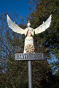 Village sign angel, Blythburgh, Suffolk, England