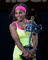 Serena Williams of the USA with her trophy during the final of the Australian Open 2015 Grand Slam, Tennis match day 13, on January 31, 2015 in Melbourne, Australia. Photo Mike Frey / Backpage Images / DPPI
