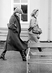 CAMILLA PARKER-BOWLES AND DIANA SPENCER AT LUDLOW RACECOURSE TO WATCH THE HORSE THE IRISH GELDING ALLIBAR WHICH PRINCE CHARLES WAS RIDING IN THE AMATEUR RIDERS HANDICAP STEEPLECHASE IN WHICH HE FINISHED SECOND TODAY.