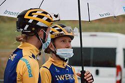 Hanna Nilsson (SWE) tries to stay dry at the 2020 UEC Road European Championships - Elite Women Road Race, a 109.2 km road race in Plouay, France on August 27, 2020. Photo by Sean Robinson/velofocus.com
