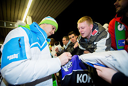 Marcel Rodman, ice hockey player at reception of Slovenia team arrived from Winter Olympic Games Sochi 2014 on February 19, 2014 at Airport Joze Pucnik, Brnik, Slovenia. Photo by Vid Ponikvar / Sportida