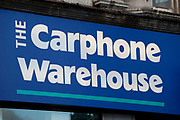 Sign for mobile phone shop Carphone Warehouse.