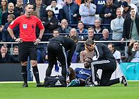 Football - 2019 / 2020 Premier League - Tottenham Hotspur vs. Watford<br /> <br /> Danny Welbeck (Watford FC) lasts 3 minutes before injury forces him off at The Tottenham Hotspur Stadium.<br /> <br /> COLORSPORT/DANIEL BEARHAM