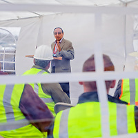 042514       Cable Hoover<br /> <br /> Navajo Nation Vice President Rex Lee Jim addresses members of the construction crew during a groundbreaking for the new Little Folks Daycare in Navajo Friday.