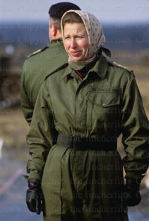The Princess Royal seen during a visit to the 14th/20th Kings Hussars in Hohne, West Germany in February 1985. Photographed by Terry Fincher
