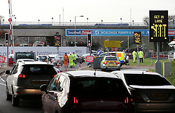 © Licensed to London News Pictures. 26/11/2015. London, UK. Traffic queuing to enter the blocked off tunnel. A group of Airport expansion activists cause traffic chaos by blocking off the inbound tunnel of Heathrow airport in London to protest against airport expansion.  Photo credit: Peter Macdiarmid/LNP