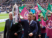 The William Hill Scottish FA Cup Final 2012 Hibernian Football Club v Heart Of Midlothian Football Club..19-05-12...Hearts legend John Robertson with Hibs legend Pat Stanton with the cup        during the William Hill Scottish FA Cup Final 2012 between (SPL) Scottish Premier League clubs Hibernian FC and Heart Of Midlothian FC. It's the first all Edinburgh Final since 1986 which Hearts won 3-1. Hearts bid to win the trophy since their last victory in 2006, and Hibs aim to win the Scottish Cup for the first time since 1902....At The Scottish National Stadium, Hampden Park, Glasgow...Picture Mark Davison/ ProLens PhotoAgency/ PLPA.Saturday 19th May 2012.