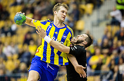 Povilas Babarskas of RK Celje PL vs Senjamin Buric of RK Gorenje during handball match between RK Celje Pivovarna Lasko and RK Gorenje Velenje in Eighth Final Round of Slovenian Cup 2015/16, on December 10, 2015 in Arena Zlatorog, Celje, Slovenia. Photo by Vid Ponikvar / Sportida