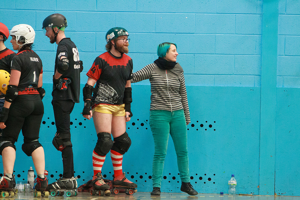 Les VI Kings take on Glasgow Mens Roller Derby B in round 2 of the Triple Header, University of Salford Sports Centre, Salford, Greater Manchester, 2019-11-30