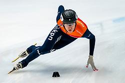 Friso Emons in action on the 1000 meter during ISU World Cup Finals Shorttrack 2020 on February 14, 2020 in Optisport Sportboulevard Dordrecht.