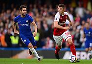 Granit Xhaka of Arsenal ® breaks away from Cesc Fabregas of Chelsea. Premier league match, Chelsea v Arsenal at Stamford Bridge in London on Sunday 17th September 2017.<br /> pic by Andrew Orchard sports photography.