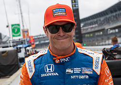 May 19, 2018 - Indianapolis, IN, U.S. - INDIANAPOLIS, IN - MAY 19: Scott Dixon, driver of the #9 PNC Bank Chip Ganassi Racing Honda, is all grins  following the completion of his qualifying run for the Indianapolis 500 on May 19, 2018 at the Indianapolis Motor Speedway in Indianapolis, IN. (Photo by Khris Hale/Icon Sportswire) (Credit Image: © Khris Hale/Icon SMI via ZUMA Press)