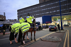 Police officers join staff from the Royal Liverpool University Hospital in a national applause during Thursday's nationwide Clap for Carers NHS initiative to applaud NHS workers fighting the coronavirus pandemic.