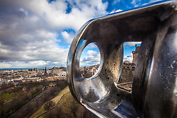 Edinburgh seen from the barrel of The One O'Clock Gun on the Edinburgh Castle Esplanade.