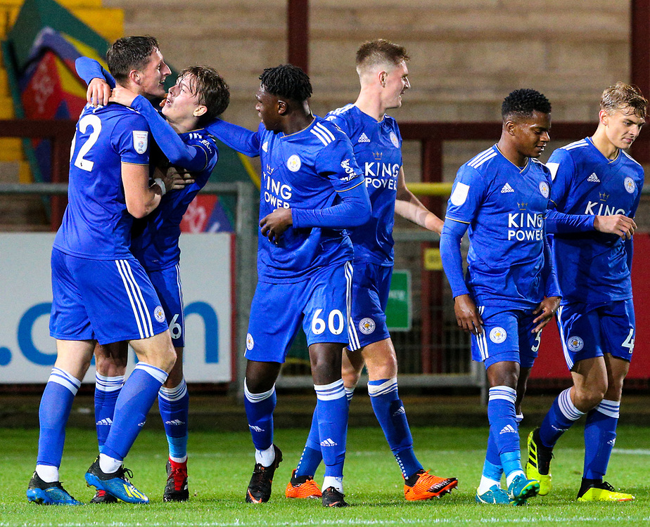 Leicester City U21s players congratulate Ryan Loft after he scored the equalising goal deep into injury time<br /> <br /> Photographer Alex Dodd/CameraSport<br /> <br /> The EFL Checkatrade Trophy - Northern Group B - Fleetwood Town v Leicester City U21 - Tuesday September 11th 2018 - Highbury Stadium - Fleetwood<br />  <br /> World Copyright © 2018 CameraSport. All rights reserved. 43 Linden Ave. Countesthorpe. Leicester. England. LE8 5PG - Tel: +44 (0) 116 277 4147 - admin@camerasport.com - www.camerasport.com