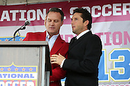 10 October 2013: Eric Wynalda introduces 2013 inductee Joe-Max Moore (right). The 2013 National Soccer Hall of Fame Induction Ceremony was held on the West Plaza outside Sporting Park in Kansas City, Kansas.