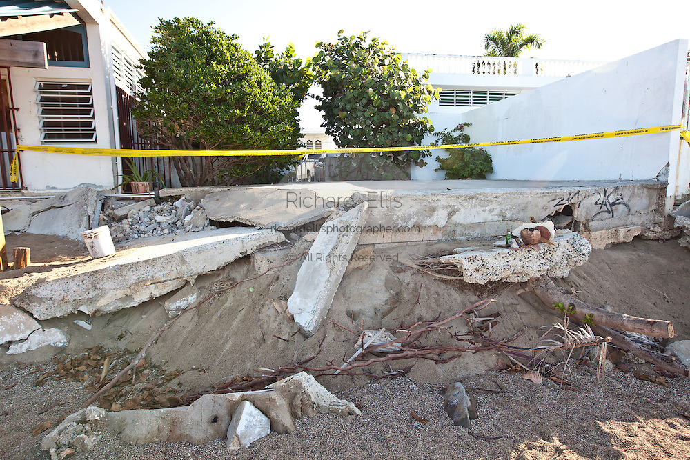Beach erosion damage Corcega Beach in Rincon, Puerto Rico.