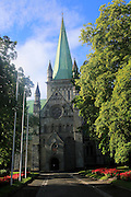 Early morning sunshine on historic cathedral spire, Trondheim, Norway